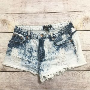 Forever 21 Acid Wash High Rise Jean Shorts Size 27